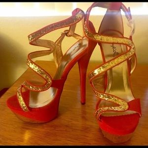 Red abs Gold High Heels